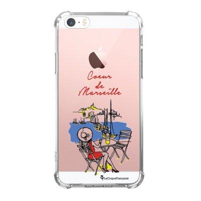 Coque iPhone 5/5S/SE anti-choc souple avec angles renforcés transparente Coeur de Marseille Tendance La Coque Francaise...