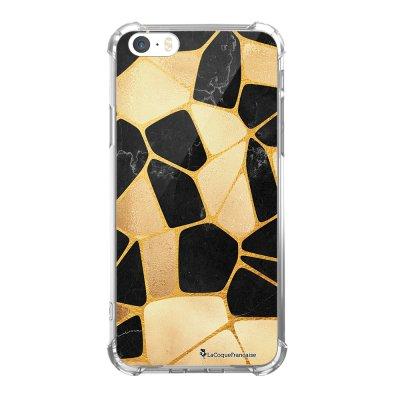 Coque iPhone 5/5S/SE anti-choc souple avec angles renforcés transparente Or Noir Tendance La Coque Francaise...