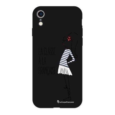 Coque iPhone Xr Silicone Liquide Douce noir Classe à la Francaise Ecriture Tendance et Design La Coque Francaise
