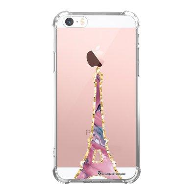 Coque iPhone 5/5S/SE anti-choc souple avec angles renforcés transparente Tour Eiffel Pierre Rose Tendance La Coque Francaise...