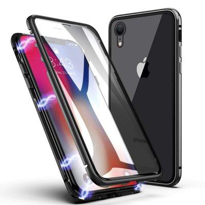 Coque iPhone Xr 360 intégrale aimanté noir et transparente