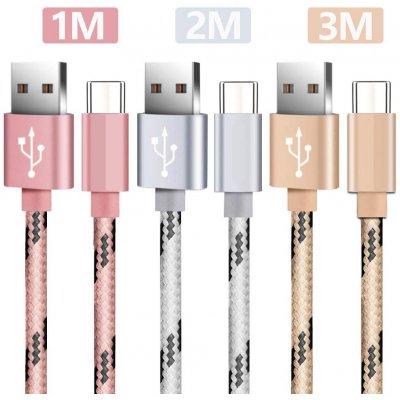 Lot 3 câbles Type C 1 m-2m-3m  rose & argent