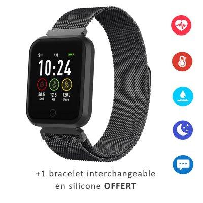 Montre connectée multi-sport IP67 avec bracelet modifiable (silicone ou métallisé) Noir