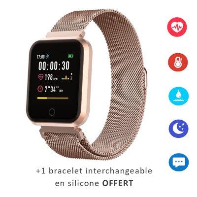 Montre connectée multi-sport IP67 avec bracelet modifiable (silicone ou métallisé) Rose Gold