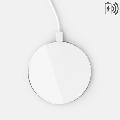 Chargeur à induction compatible avec iPhone 8 Plus à induction - Blanc avec contour argent