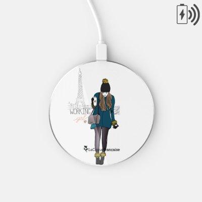 Chargeur Induction blanc Working girl Ecriture Tendance et Design La Coque Francaise