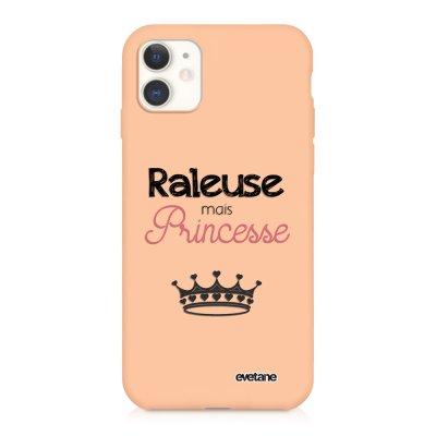 Coque iPhone 11 Silicone Liquide Douce rose pâle Raleuse mais princesse Ecriture Tendance et Design Evetane