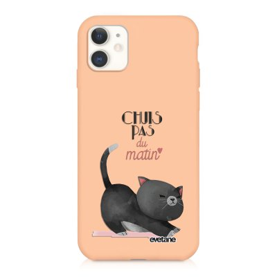 Coque iPhone 11 Silicone Liquide Douce rose pâle Chuis pas du matin Ecriture Tendance et Design Evetane