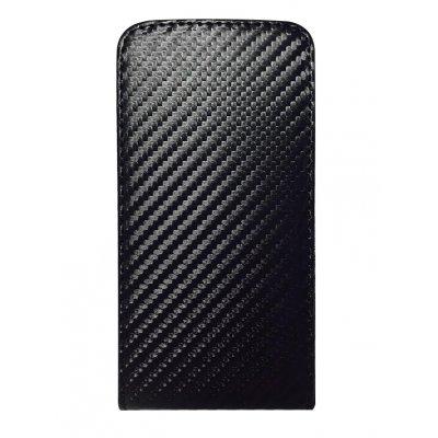 Etui clapet noir carbone pour Alcatel 3040