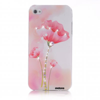 Coque fleur à strass pour Apple iPhone 4/4S