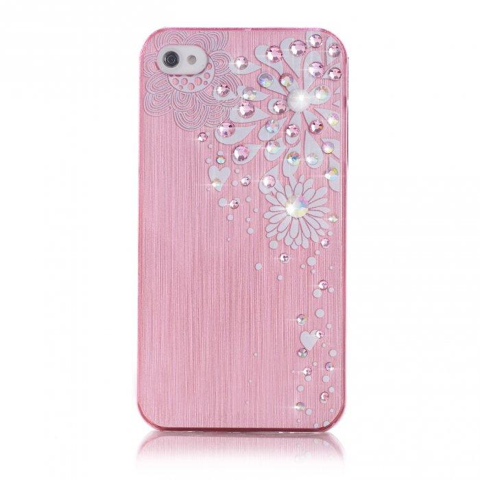 Coque fleur rose à strass pour Apple iPhone 4/4S