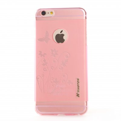 Coque souple transparente rose bimatière fleurs pour Apple iPhone 6 Plus