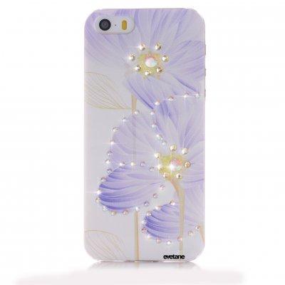 Coque fleurs violette à strass pour Apple iPhone 5/5S