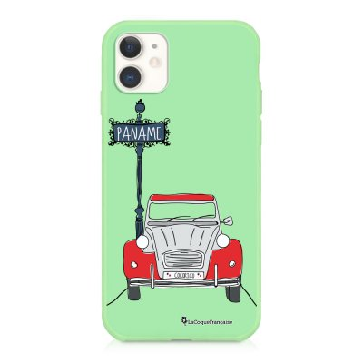 Coque iPhone 11 Silicone Liquide Douce vert pâle 2CV cocorico Ecriture Tendance et Design La Coque Francaise
