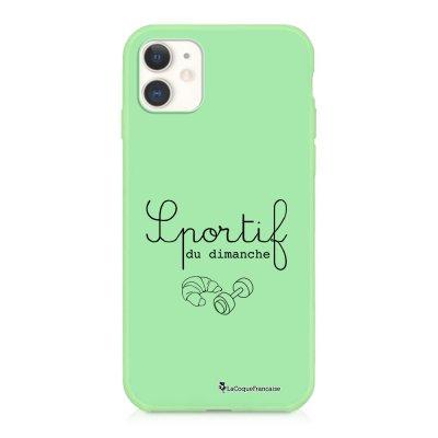 Coque iPhone 11 Silicone Liquide Douce vert pâle Sportif du dimanche Ecriture Tendance et Design La Coque Francaise
