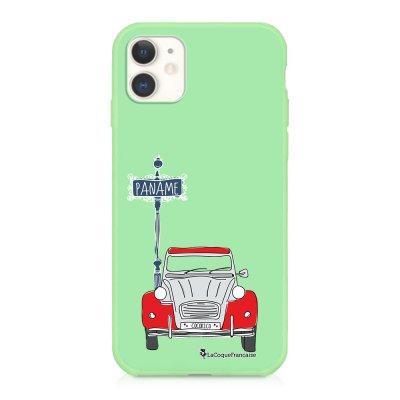 Coque iPhone 11 Silicone Liquide Douce vert pâle 2CV cocorico BLANC Ecriture Tendance et Design La Coque Francaise