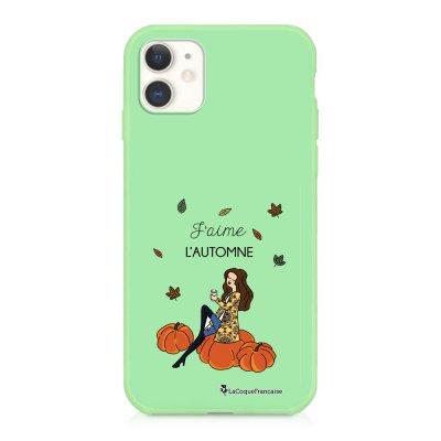 Coque iPhone 11 Silicone Liquide Douce vert pâle J'aime l'automne Ecriture Tendance et Design La Coque Francaise
