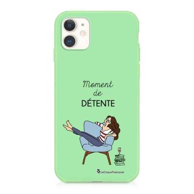 Coque iPhone 11 Silicone Liquide Douce vert pâle Moment de détente Ecriture Tendance et Design La Coque Francaise
