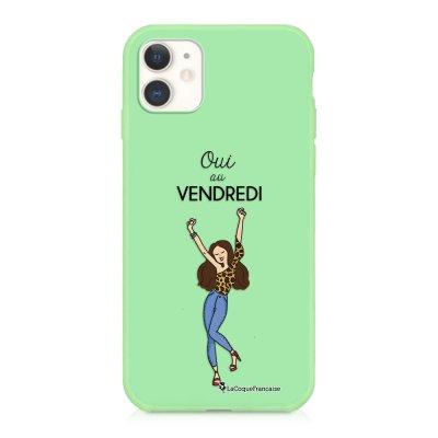 Coque iPhone 11 Silicone Liquide Douce vert pâle Oui au Vendredi Ecriture Tendance et Design La Coque Francaise