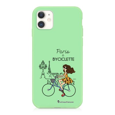 Coque iPhone 11 Silicone Liquide Douce vert pâle Paris à Bicyclette Ecriture Tendance et Design La Coque Francaise