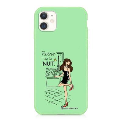 Coque iPhone 11 Silicone Liquide Douce vert pâle Reine de la Nuit Ecriture Tendance et Design La Coque Francaise