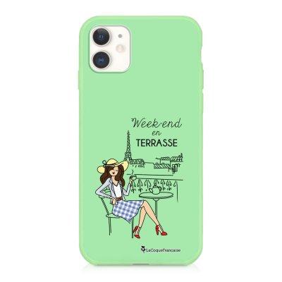 Coque iPhone 11 Silicone Liquide Douce vert pâle Week-end en Terrasse Ecriture Tendance et Design La Coque Francaise