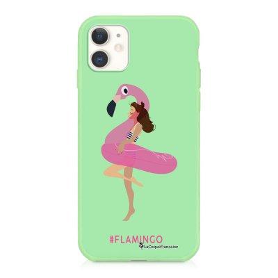Coque iPhone 11 Silicone Liquide Douce vert pâle Flamingo Ecriture Tendance et Design La Coque Francaise
