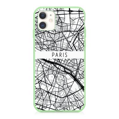 Coque iPhone 11 Silicone Liquide Douce vert pâle Carte de Paris Ecriture Tendance et Design La Coque Francaise