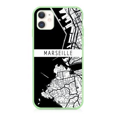 Coque iPhone 11 Silicone Liquide Douce vert pâle Carte de Marseille Ecriture Tendance et Design La Coque Francaise
