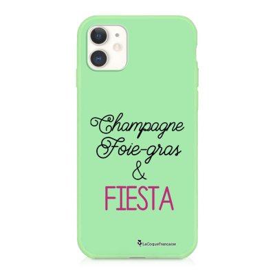 Coque iPhone 11 Silicone Liquide Douce vert pâle Champagne Foie gras et Fiesta Ecriture Tendance et Design La Coque Francaise