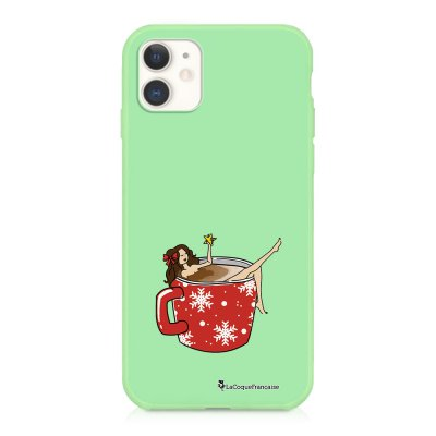 Coque iPhone 11 Silicone Liquide Douce vert pâle Chocolat Chaud Ecriture Tendance et Design La Coque Francaise