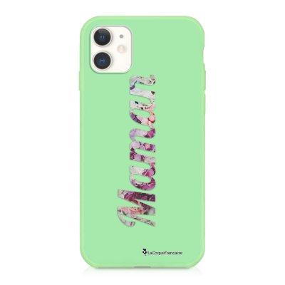 Coque iPhone 11 Silicone Liquide Douce vert pâle Maman Fleur Ecriture Tendance et Design La Coque Francaise