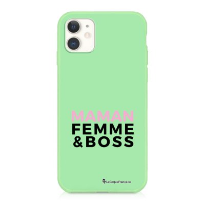 Coque iPhone 11 Silicone Liquide Douce vert pâle Femme Boss Ecriture Tendance et Design La Coque Francaise