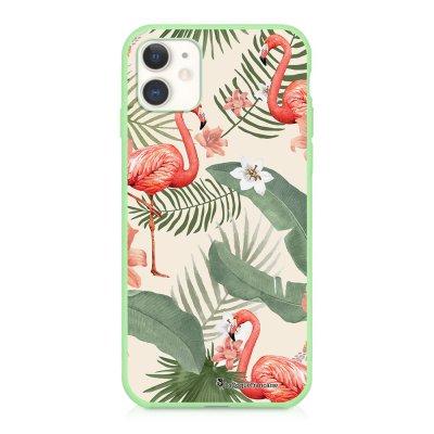Coque iPhone 11 Silicone Liquide Douce vert pâle Flamants Rose Ecriture Tendance et Design La Coque Francaise