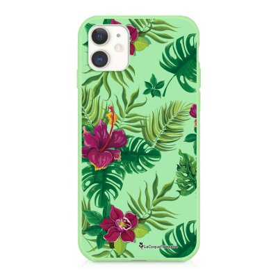 Coque iPhone 11 Silicone Liquide Douce vert pâle Tropical Ecriture Tendance et Design La Coque Francaise