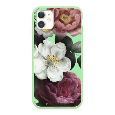 Coque iPhone 11 Silicone Liquide Douce vert pâle Fleurs roses Ecriture Tendance et Design La Coque Francaise