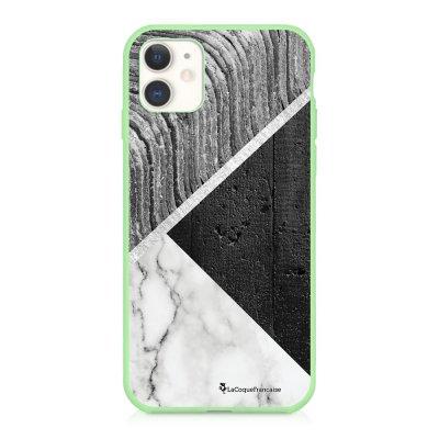 Coque iPhone 11 Silicone Liquide Douce vert pâle Trio béton brut Ecriture Tendance et Design La Coque Francaise