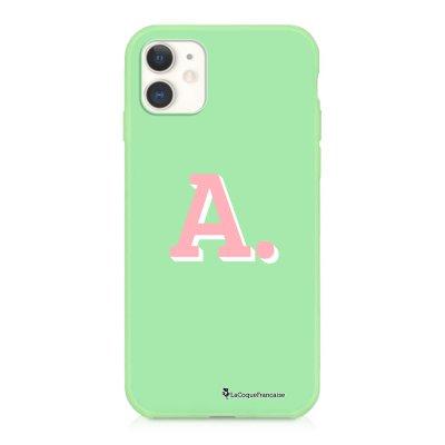 Coque iPhone 11 Silicone Liquide Douce vert pâle Initiale A Ecriture Tendance et Design La Coque Francaise