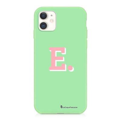 Coque iPhone 11 Silicone Liquide Douce vert pâle Initiale E Ecriture Tendance et Design La Coque Francaise
