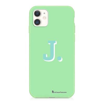 Coque iPhone 11 Silicone Liquide Douce vert pâle Initiale J Ecriture Tendance et Design La Coque Francaise