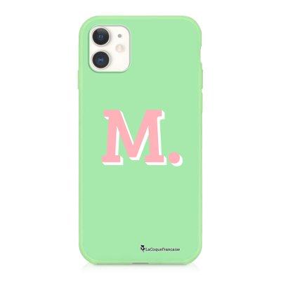 Coque iPhone 11 Silicone Liquide Douce vert pâle Initiale M Ecriture Tendance et Design La Coque Francaise