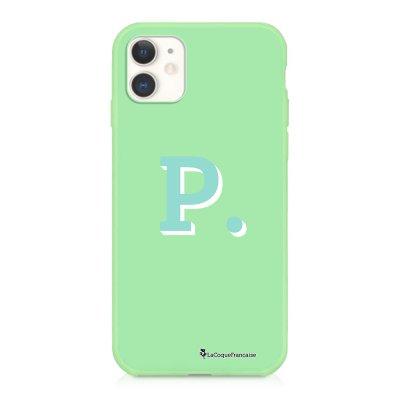 Coque iPhone 11 Silicone Liquide Douce vert pâle Initiale P Ecriture Tendance et Design La Coque Francaise