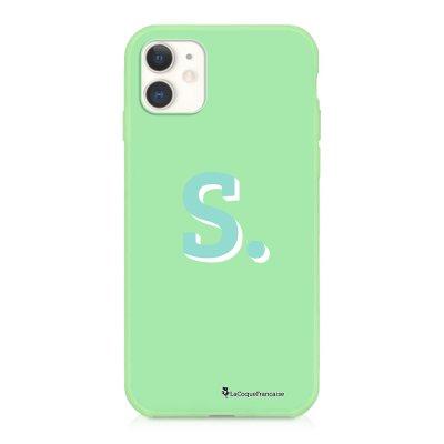 Coque iPhone 11 Silicone Liquide Douce vert pâle Initiale S Ecriture Tendance et Design La Coque Francaise