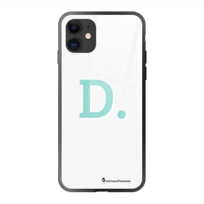 Coque en verre trempé iPhone 11 noir Initiale D Ecriture Tendance et Design La Coque Francaise