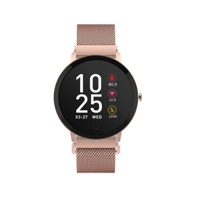 Montre connectée multi-fonctions IP67 avec bracelet modifiable (silicone ou métallisé) Rose Gold