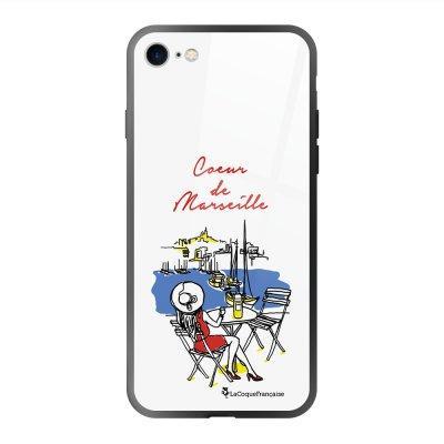 Coque en verre trempé iPhone 7 iPhone 8 noir Coeur de Marseille Ecriture Tendance et Design La Coque Francaise