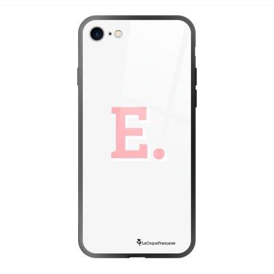 Coque en verre trempé iPhone 7 iPhone 8 noir Initiale E Ecriture Tendance et Design La Coque Francaise