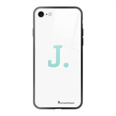 Coque en verre trempé iPhone 7 iPhone 8 noir Initiale J Ecriture Tendance et Design La Coque Francaise