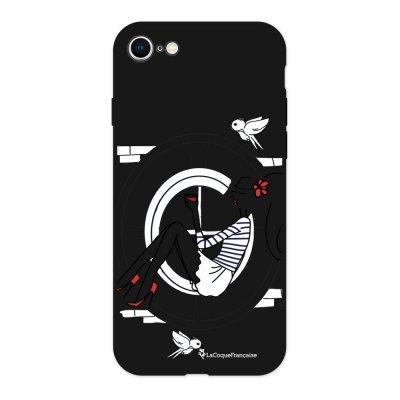 Coque iPhone 7/8 Silicone Liquide Douce noir Sur les Toits de Paris Ecriture Tendance et Design La Coque Francaise