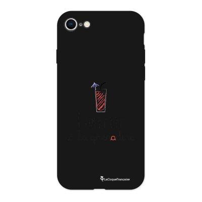 Coque iPhone 7/8 Silicone Liquide Douce noir Pompette à la grenadine Ecriture Tendance et Design La Coque Francaise